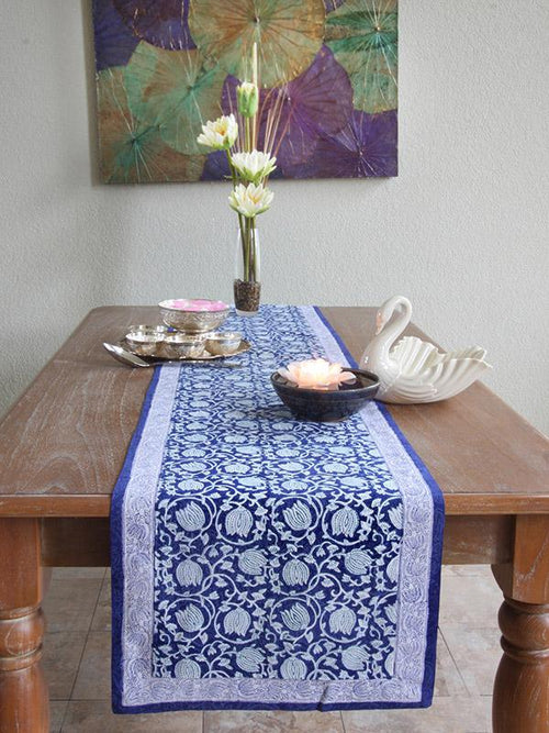 Blue Midnight Lotus 18X90 Block Printed Table Runner