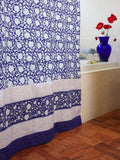 Midnight Lotus Block Print Shower Curtain