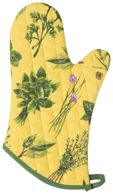 Yellow with Green Herbs Oven Mitt