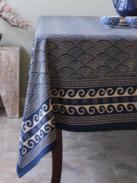 Pacific Blue 70x90 Block Print Tablecloth