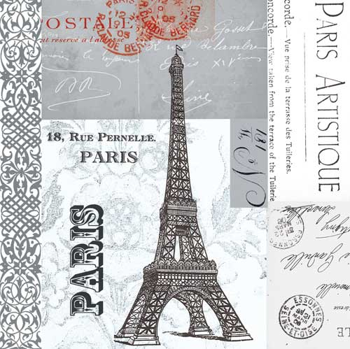 Eiffel Tower Collage Paper Cocktail Napkins