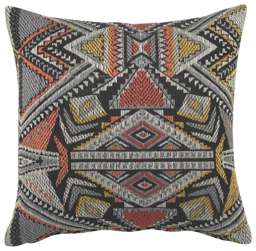 Black and Rust Tapestry Pillow