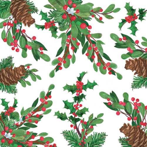 Pine Cones and Holly Paper Lunch Napkins