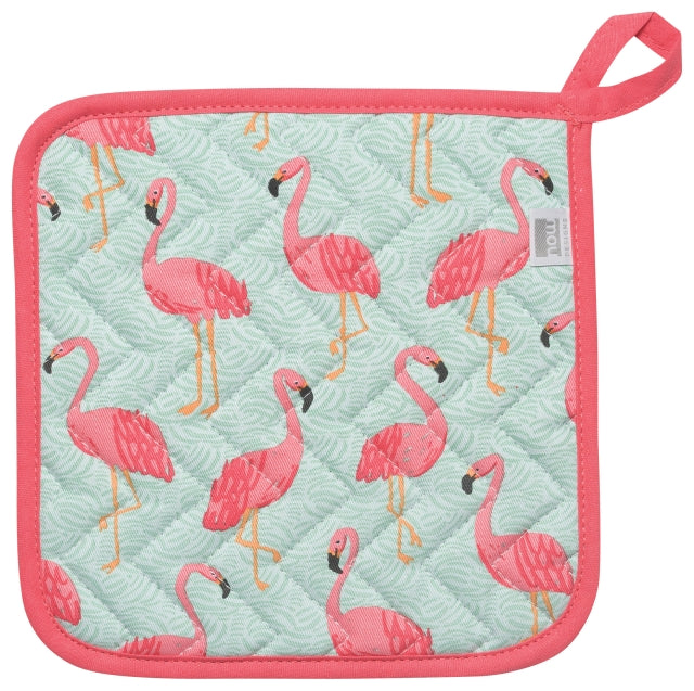 Pink Flamingos Cotton Potholder