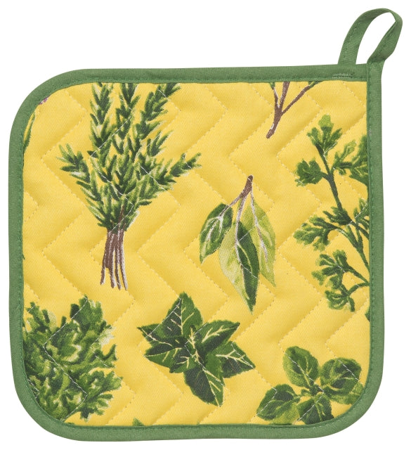 Yellow and Green Herbs Cotton Potholder