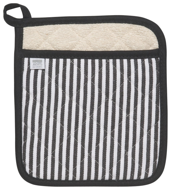 Narrow Stripe Black Potholder