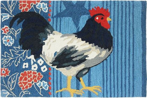 Black White Rooster Blue Kitchen Rug