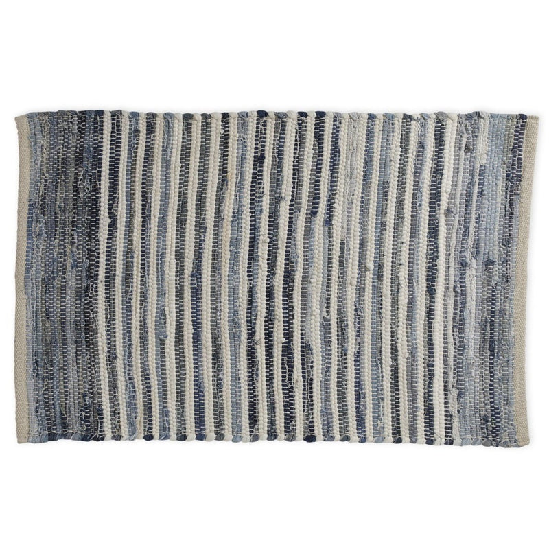 Blue Stripe Chindi Kitchen Rug