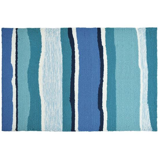 Aqua Blue Striped Kitchen Rug
