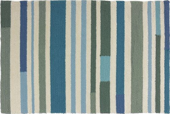 Green Aqua Striped 2 X 3 Kitchen Rug