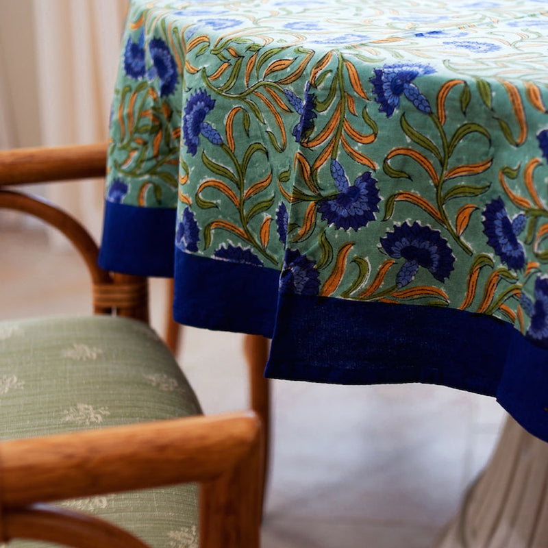 "Blue Green Cornflower 70"" Round Tablecloth"
