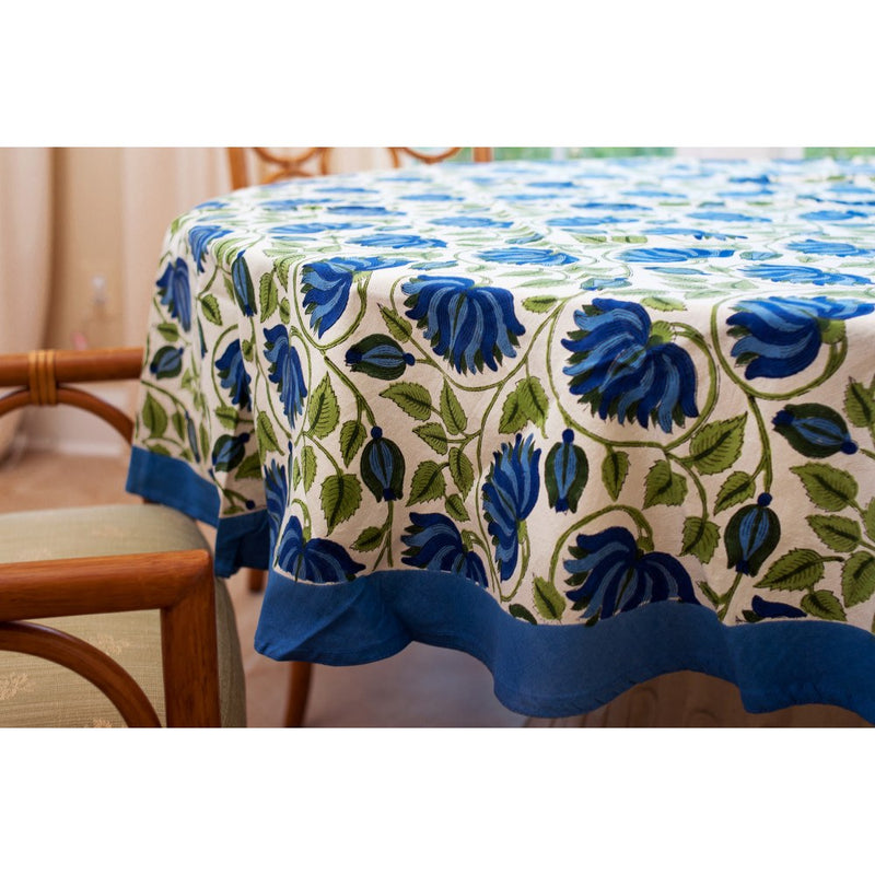 Blue Green Lotus Round Tablecloth