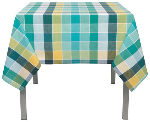 Turquoise Plaid Cotton 60 x 90 Tablecloth