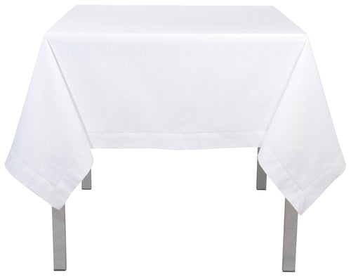 White Hemstitch Cotton 60 x 60 Tablecloth