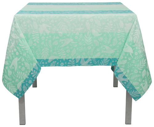 Aqua Jacquard Cotton 60 x 120 Tablecloth