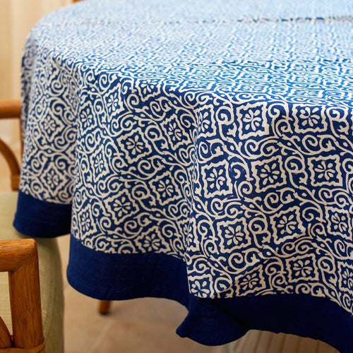 "70"" Round Blue White Block Print Tablecloth"