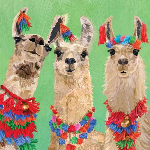 Three Colorful Llamas Cocktail Napkins