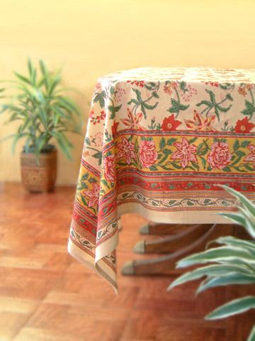 Tropical Garden Block Print 70x90 Tablecloth