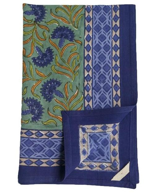 Blue Cornflower Block Print Towel
