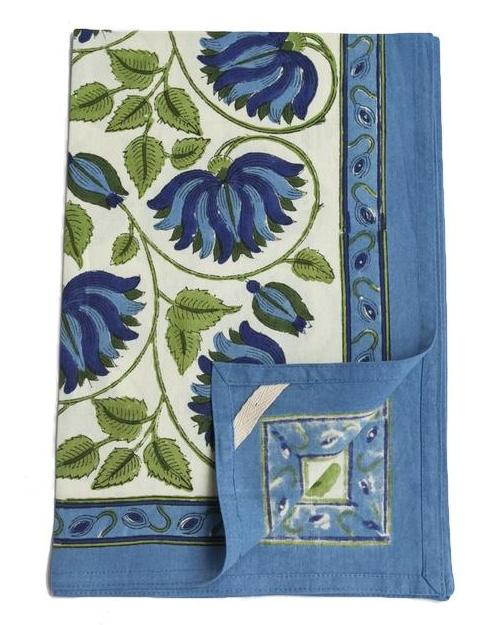 Blue Green Lotus Block Print Kitchen Towel