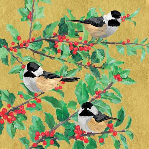 Holiday Chickadees in a Tree Cocktail Napkin