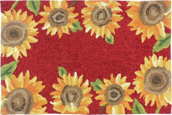 Rust Sunflowers Kitchen Rug
