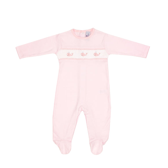 Whale Watch Hand Smocked Footie-Pink