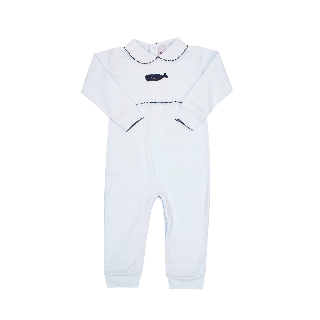 Whale Watch Pima Romper-Baby Blue