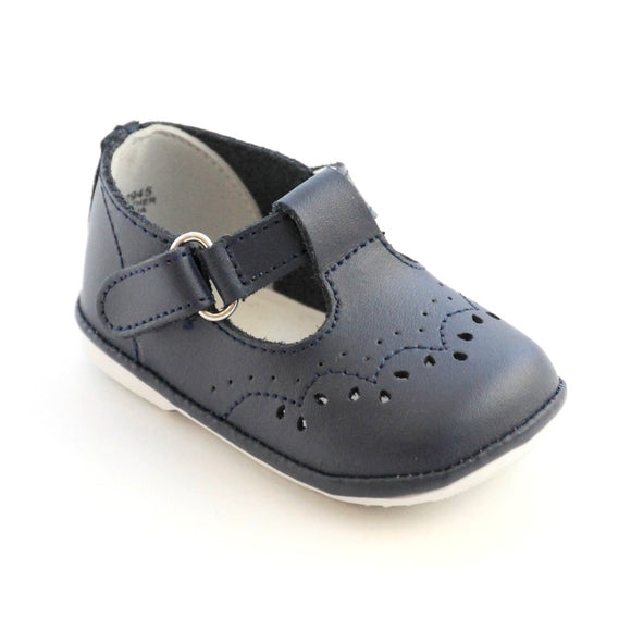 Angel Baby Shoes Navy Leather Mary Janes Nantucket Kids
