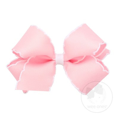 Wee Ones Medium Moonstitch Bow-Light Pink