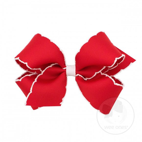 Wee Ones Medium Moonstitch Bow-Royal Red