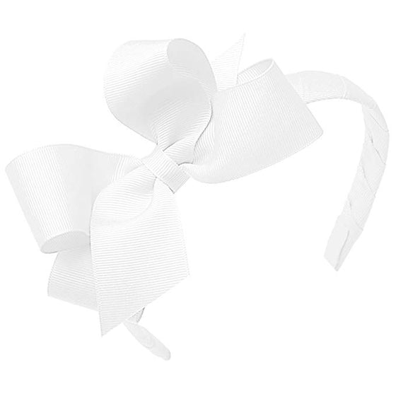 Wee Ones Medium Classic Grosgrain Bow on Headband-Classic White