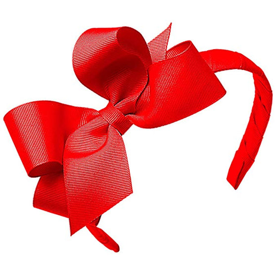 Wee Ones Medium Classic Grosgrain Bow on Headband-Royal Red