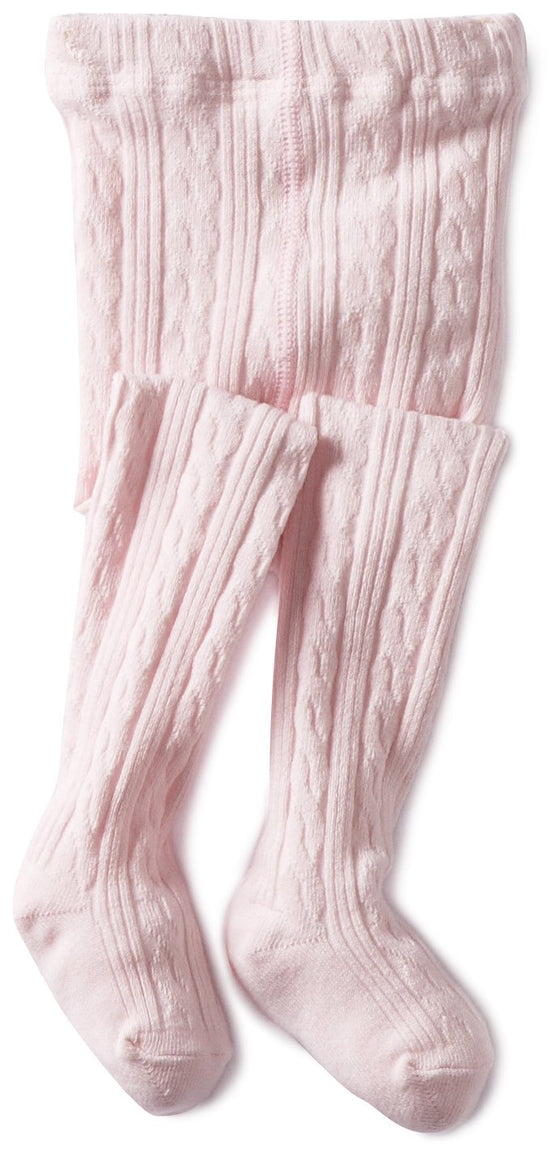 Classic Cable Knit Tights-Pink