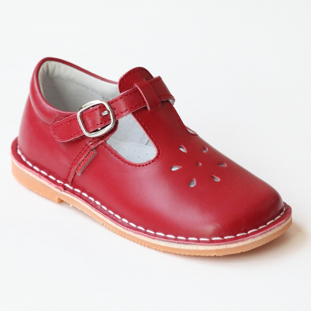 Perforated Leather Mary Janes-Royal Red