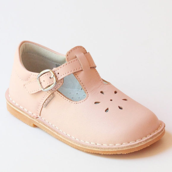 Perforated Leather Mary Janes-Pink