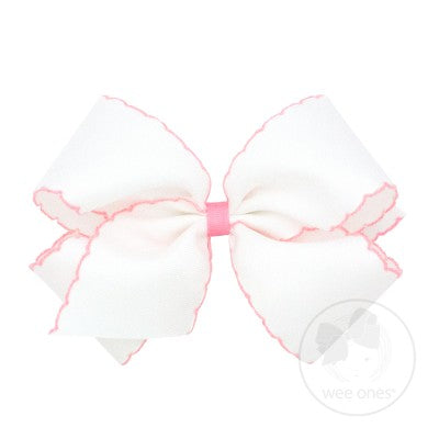 Wee Ones Medium Moonstitch Bow-Classic White with Light Pink