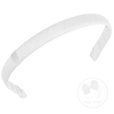 "Wee Ones Classic 1/2"" Grosgrain Add-a-Bow Headband-Classic White"