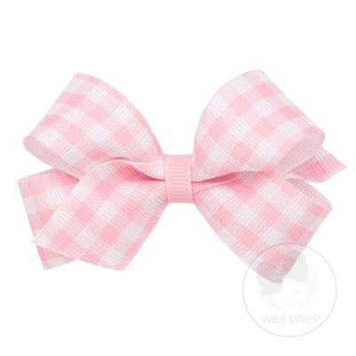 Wee Ones Medium Grosgrain Bow-Pink Gingham