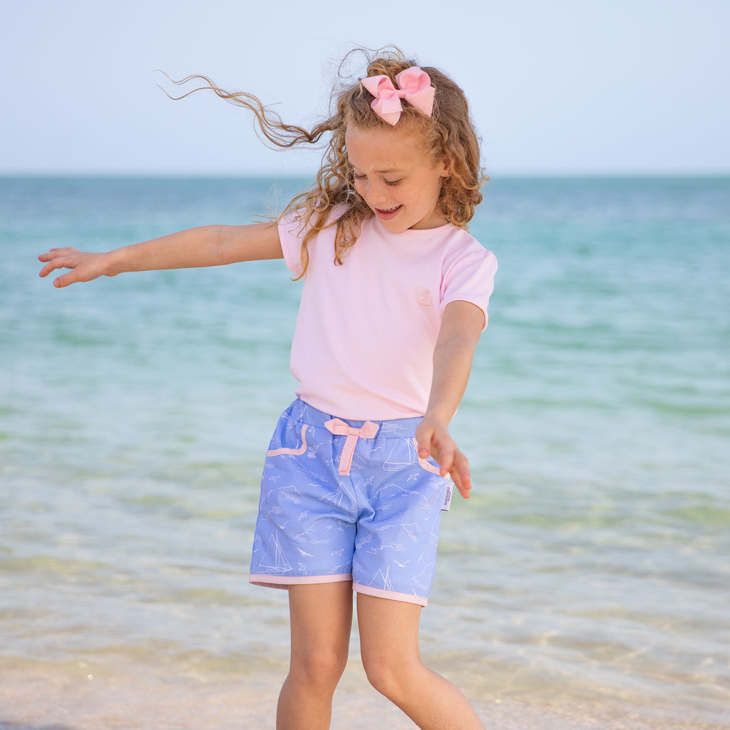 Seas the Day Play Shorts (Pink Trim)
