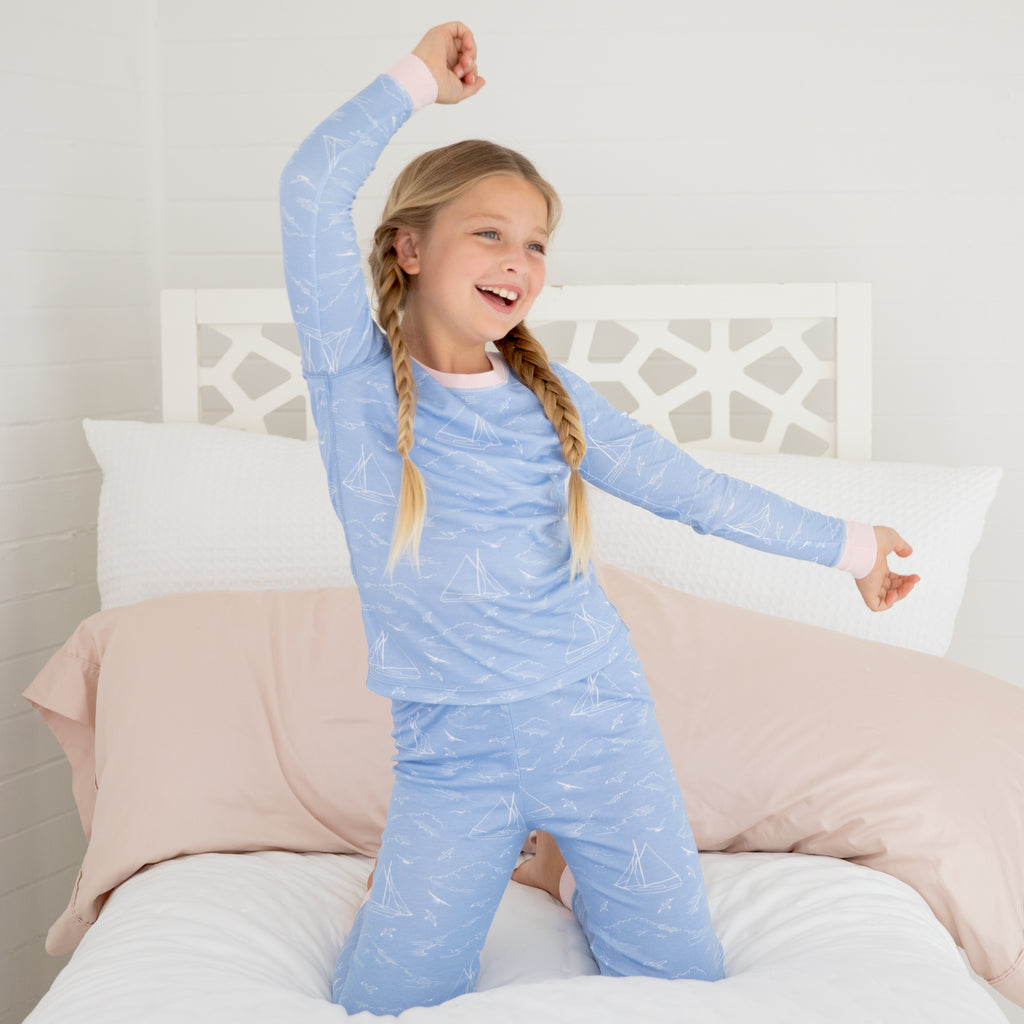 Seas the Day Pima Jammies 2-Piece Set-Periwinkle/Cherry Blossom