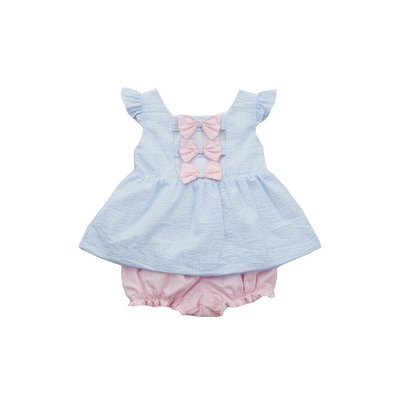Bow Back Bloomer Set-Blue Seersucker/Pink Peony