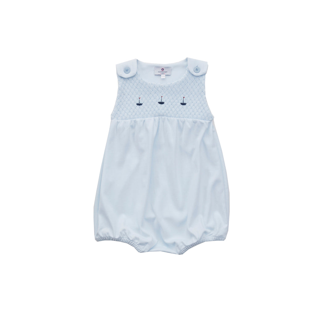 Smocked Sailboat Pima Bubble-Blue