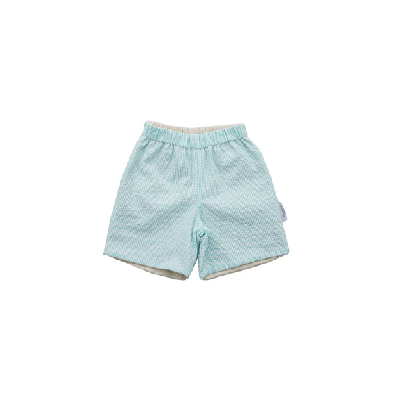 Preston Reversible Shorts-Classic Khaki/Aqua Seersucker