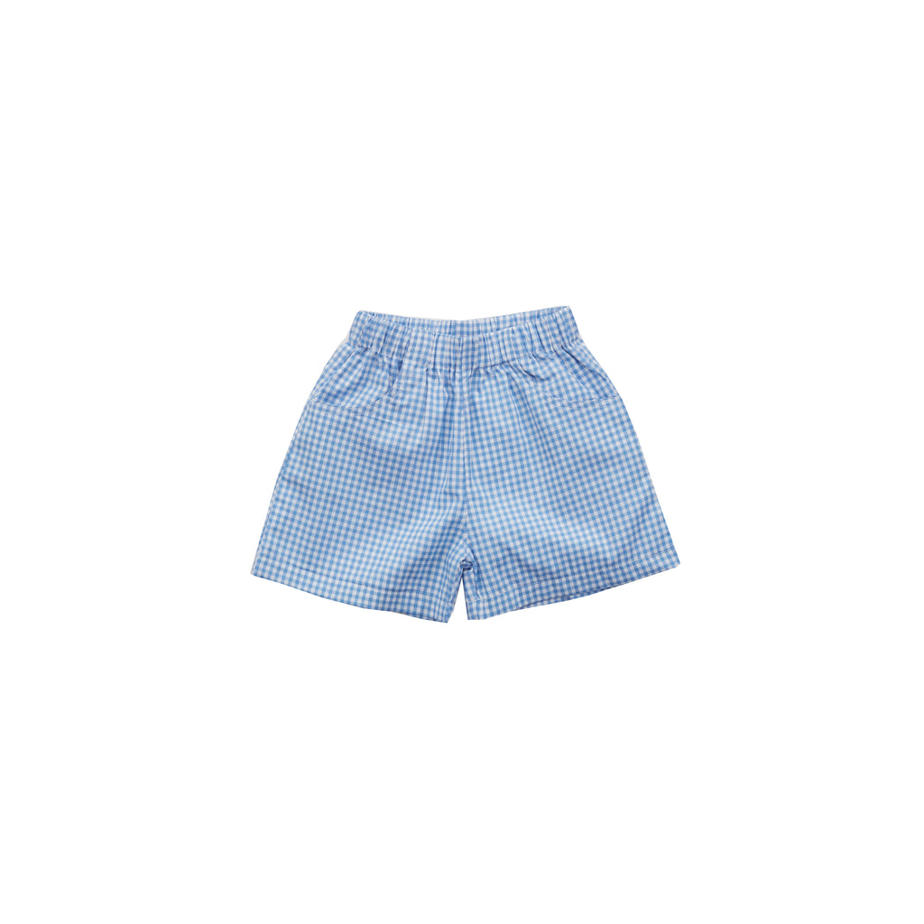 Poplin Play Shorts-Hydrangea Gingham