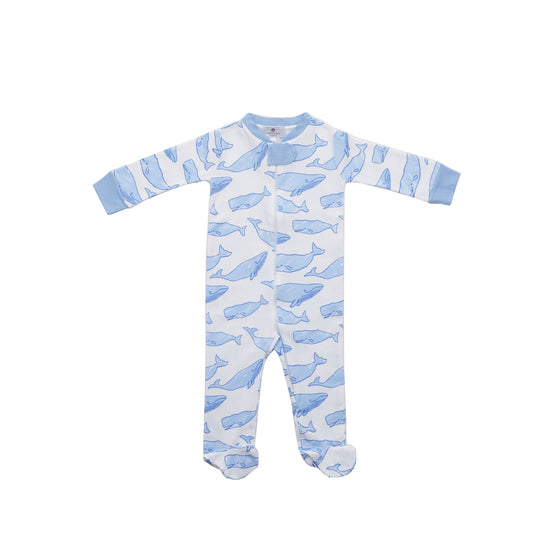 Watercolor Whales 1-Piece Pima Footie