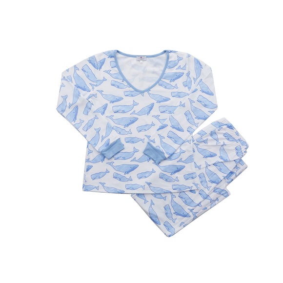 Women's Watercolor Whales Pajamas-2 Piece Set