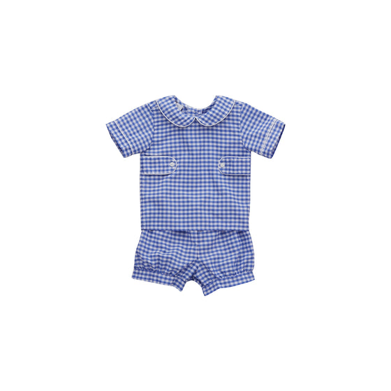 Sawyer Short Set-Cobalt Gingham