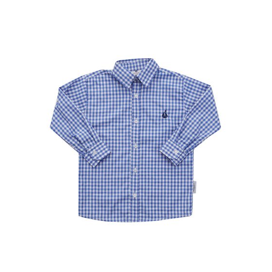 Boy's Button Down Shirt-Cobalt Gingham