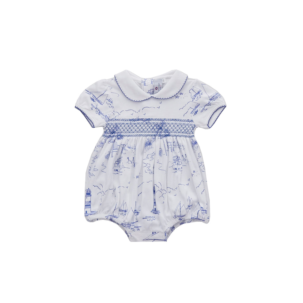 Nantucket Toile Smocked Pima Bubble